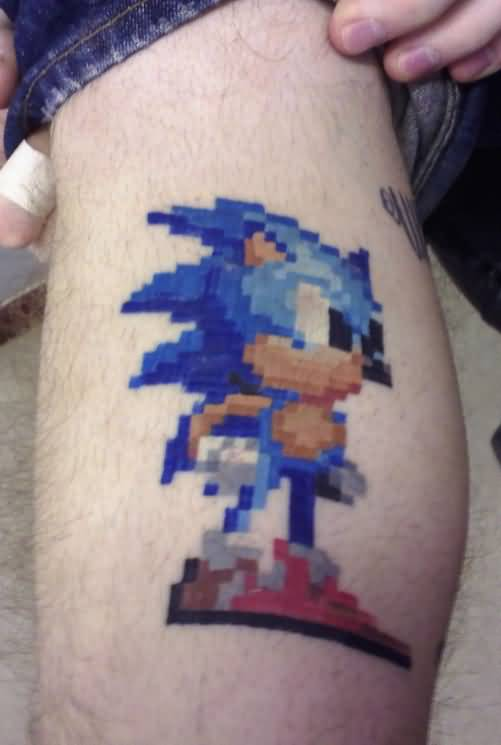 Eight Bit Nice And Amazing Sonic Tattoo Design Idea On Leg