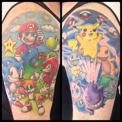 Famous Pokemon Cartoon Sonic Tattoo On Upper Sleeve