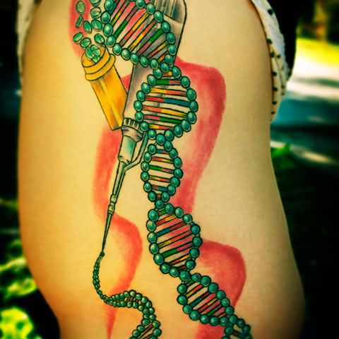 Fantastic And Nice Science DNA Tattoo Design On Side Rib
