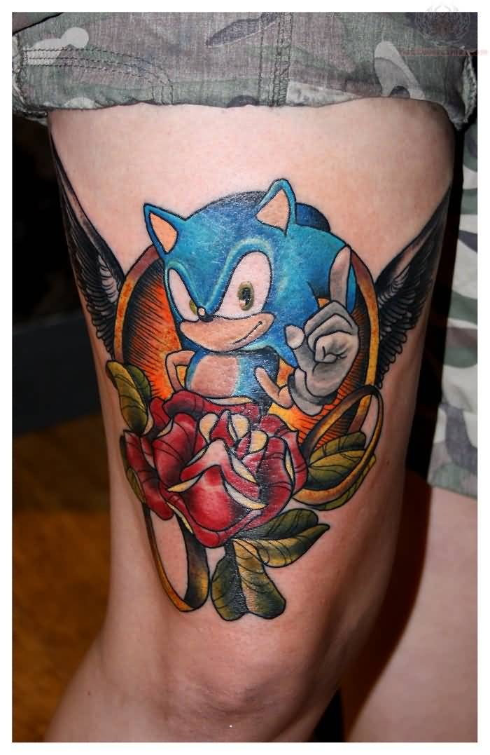 Fantastic And Nice Sonic Cartoon And Flower Tattoo