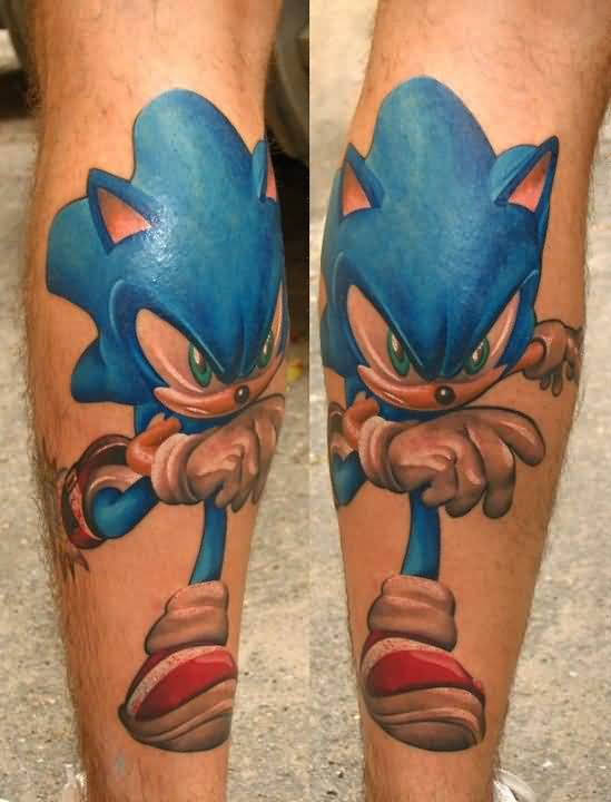 Fantastic And Nice Sonic Cartoon Tattoo