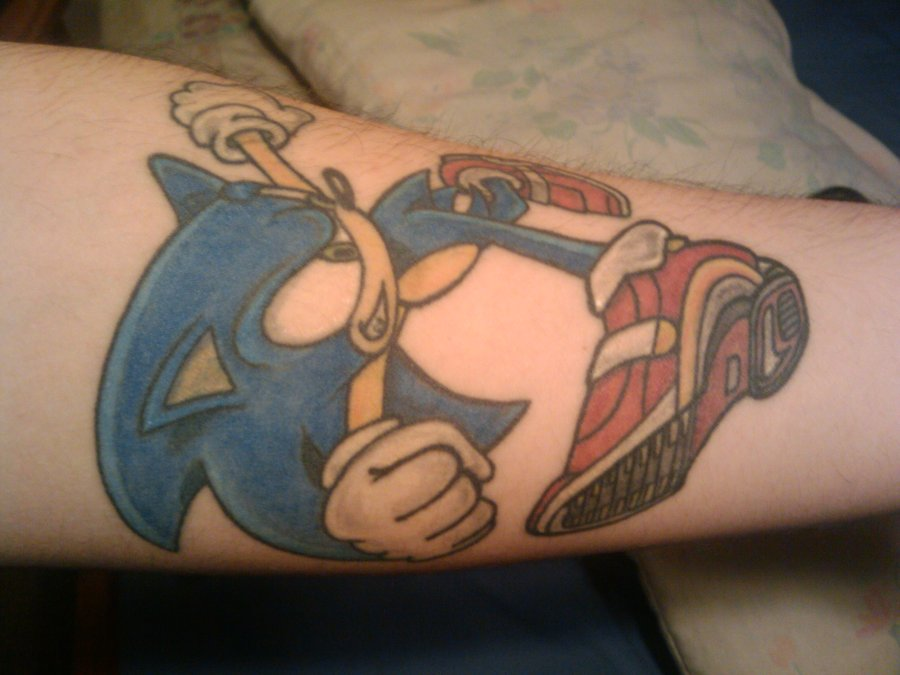 Fighter Devil Angry Sonic Tattoo