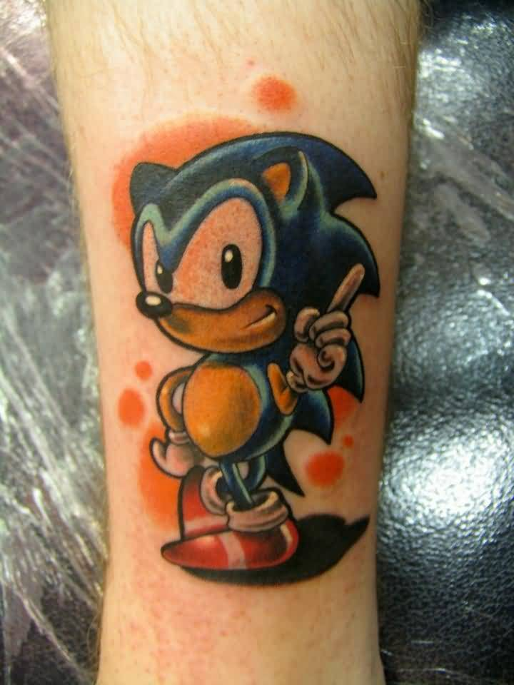 Funny Angry Mood Sonic Tattoo Design
