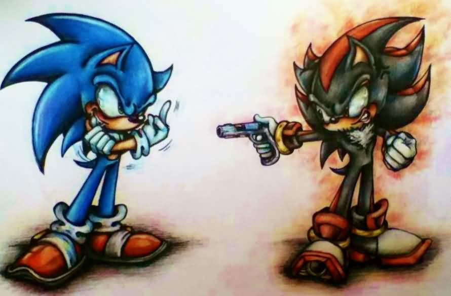 Gangster Shadow With Sonic Tattoo Design