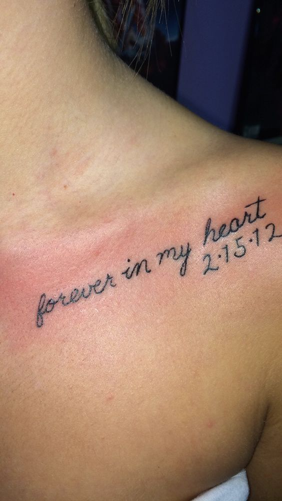 Girl Collarbone Nice Remembrance Date And Lettering Tattoo