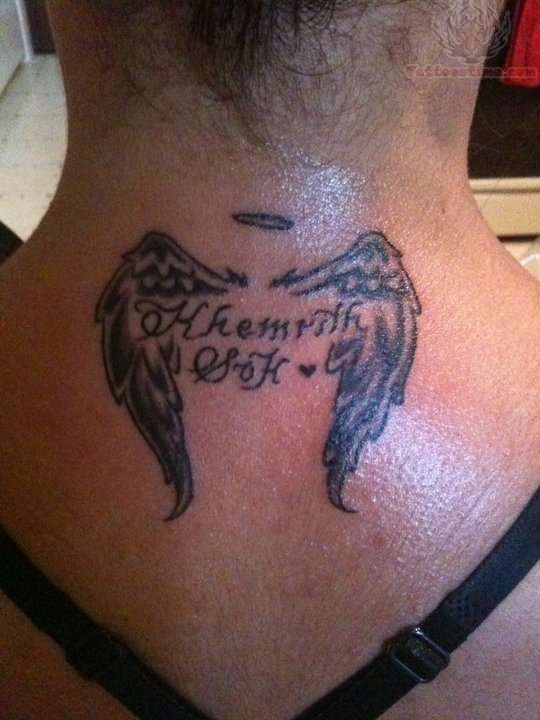 Girl Nape Nice Remembrance Angel Wings Tattoo
