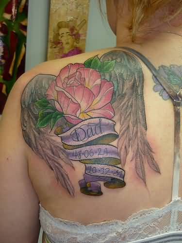 Girl Upper Back Nice Flower Remembrance Dad Banner Tattoo
