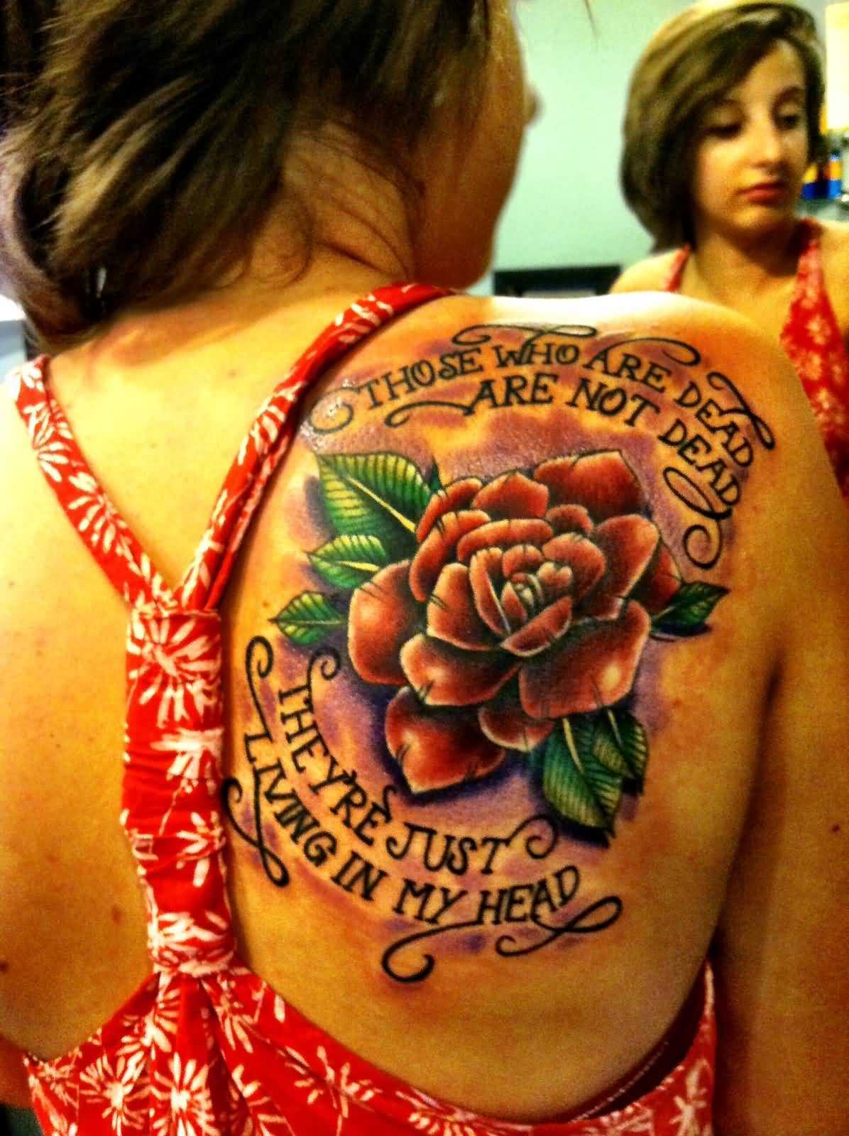 Girl Upper Back Nice Rose Flower And Letters Tattoo