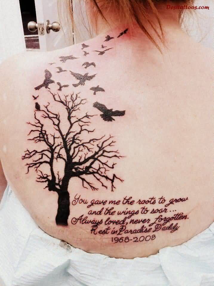 Girl Upper Back Nice Tree Remembrance Birds Tattoo