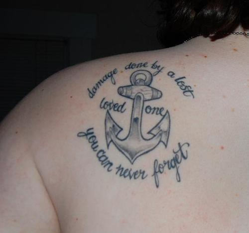 Grey Ink Nice Remembrance Anchor Tattoo On Upper Back