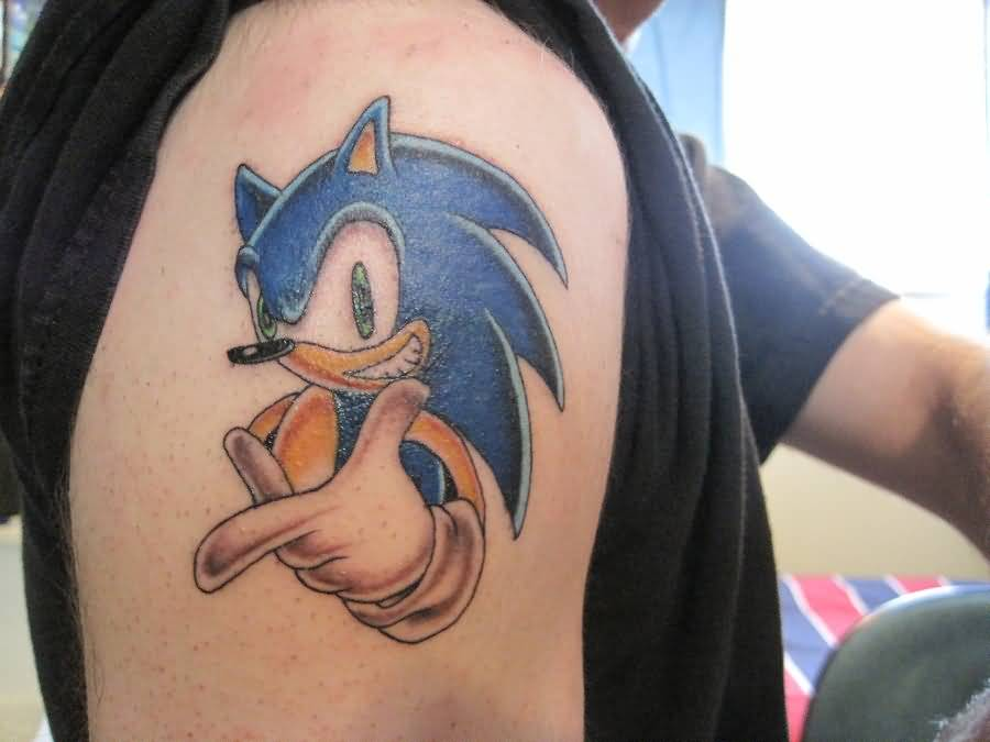 Ko Scott Design A Amazing Sonic Cartoon Tattoo Make On Shoulder
