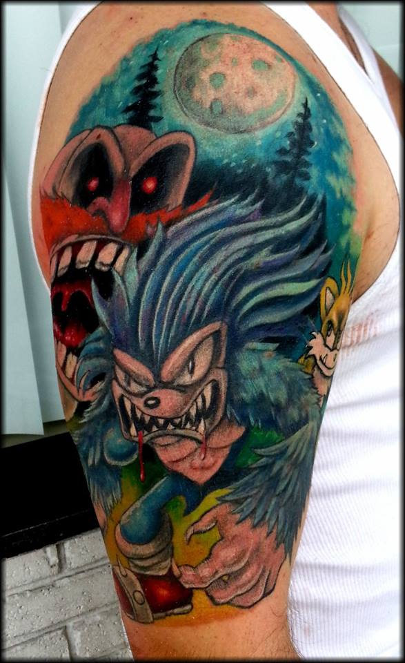 Men Half Sleeve Space And Sonic Tattoo
