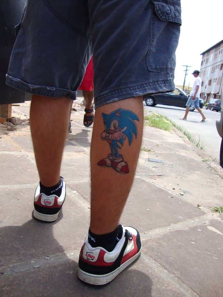 Nice And Amazing Sonic Cartoon Tattoo Design Idea Make On Back Leg