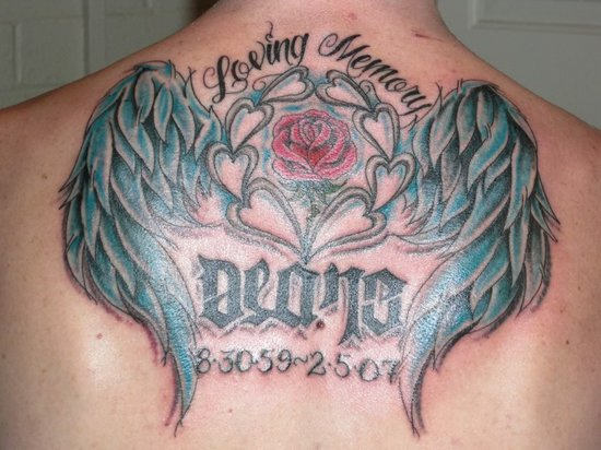 Nice Angel Wings Remembrance Tattoo On Upper Back