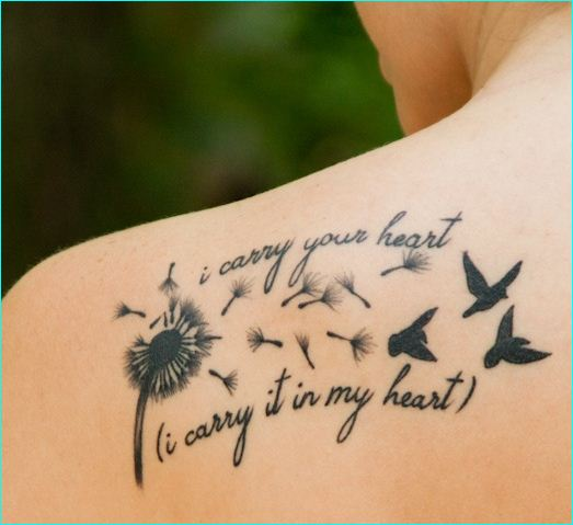 Nice Birds With Remembrance Lines Dandelion Birds Tattoo