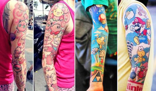 Nice Collabortion Of Sonic Cartoon Tattoo Design On Sleeve