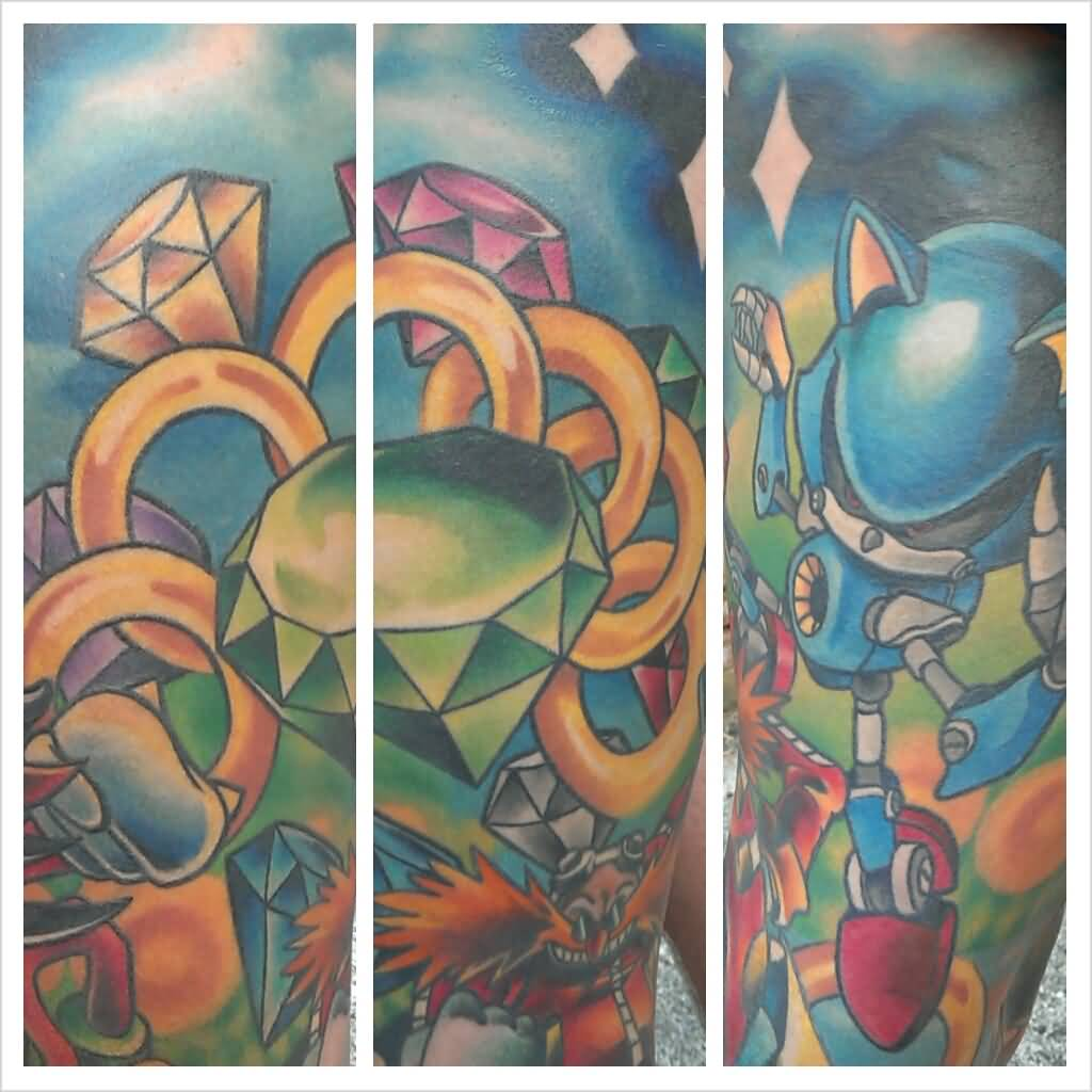 Nice Diamond With Sonic Cartoon Tattoo