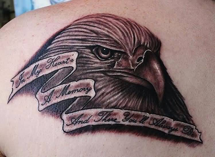 Nice Eagle Face Remembrance Banner Tattoo