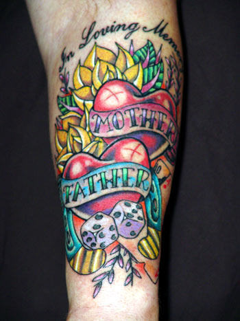 Nice Flowers With Remembrance Mother Father Banner Tattoo