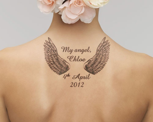 Nice Girl Upper Back Remembrance Angel Wings Tattoo