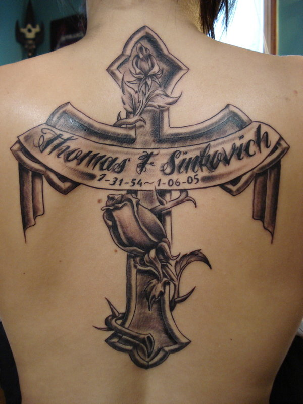Nice Letters Remembrance Cross Tattoo On Upper Back