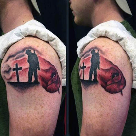 Nice Poppy Flower Remembrance Army Men With Cross Tattoo