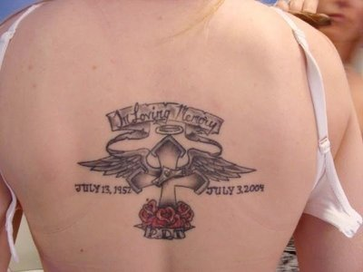 Nice Rembrance Cross Banner Tattoo For Nice Mom