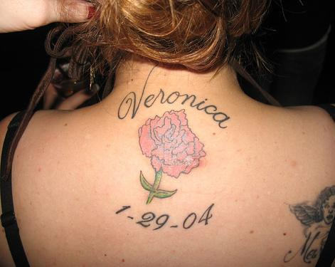 Nice Rose Flower Amazing Remembrance Date Tattoo