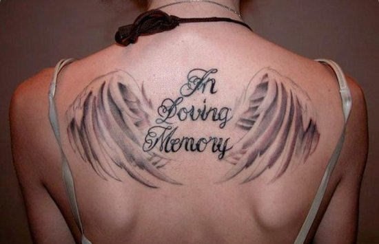 Nice Wings Amazing Remembrance Tattoo On Upper Back
