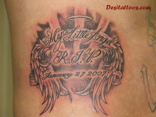 Remembrance Angel Wings With Memorial Date Tattoo