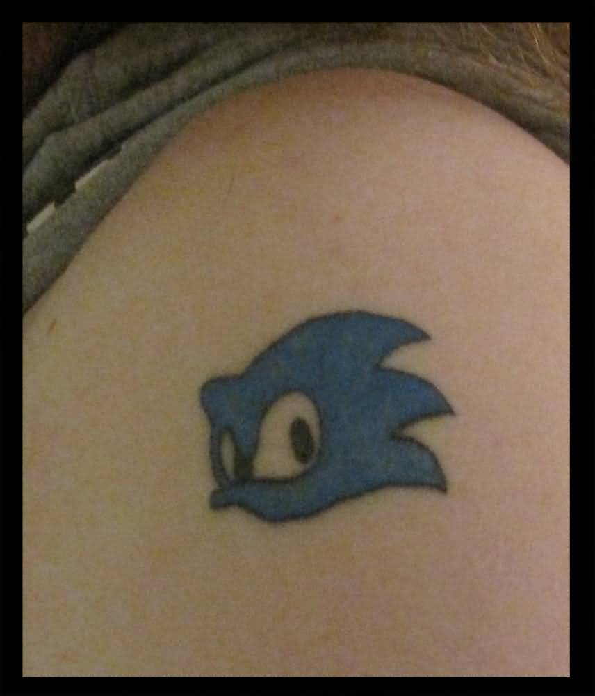 Simple Blue Ink Nice Sonic Face Tattoo