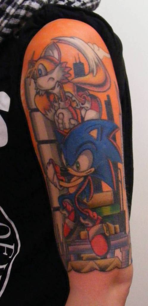 Simple Half Sleeve Sonic And Tail Tattoo