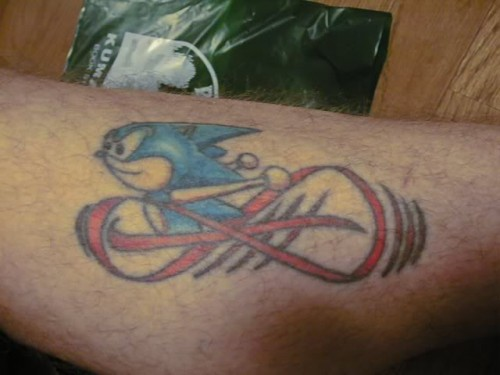 Simple Infinity Sonic Cartoon Sleeve Tattoo