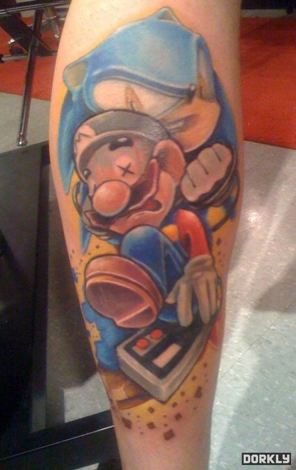 Sonic Beat Mario Tattoo Design For Lower Sleeve