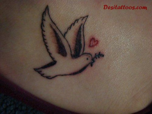 Sweet Dove Heart Remembrance Tattoo For Girl