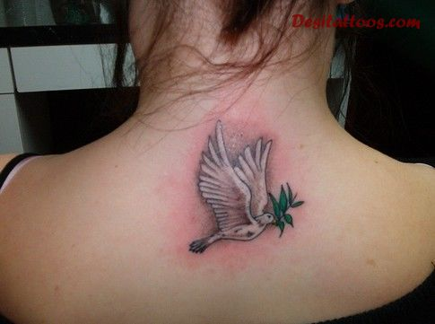 Sweet Dove Remembrance Tattoo On Upper Back