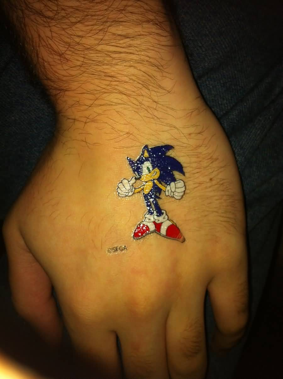 Temporary Sonic Tattoo On Hand