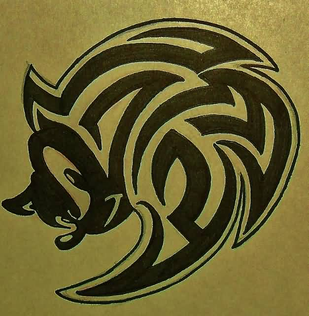 Tribal Head Of Sonic Cartoon Tattoo