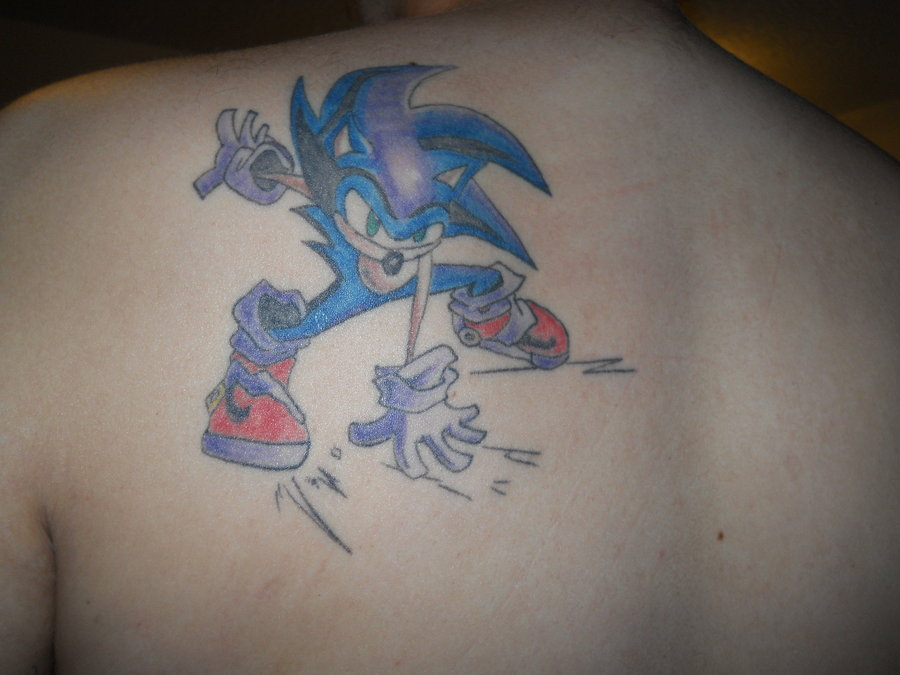 Upper Back Amazing Sonic Cartoon Funny Tattoo