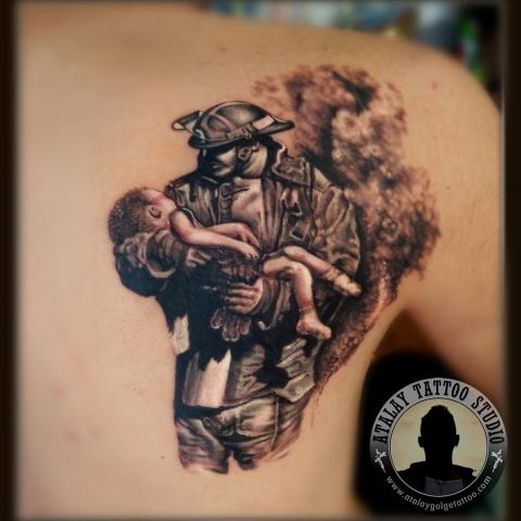 Upper Back Awesome Remembrance Army Men With baby Tattoo