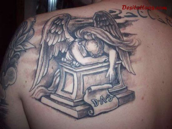 Upper Back Nice Remembrance Crying Angel Girl Tattoo