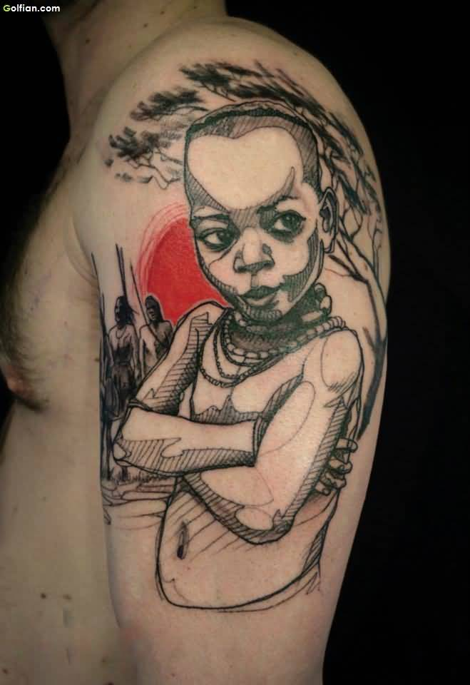 African Tattoo Of Child