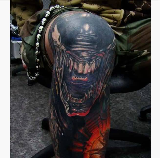 Alien Tattoo On Knee