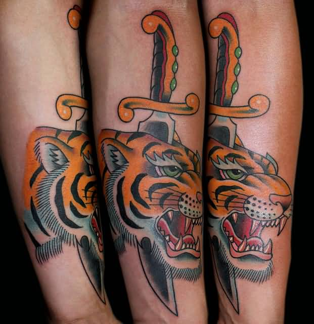 Angry Panther Dagger Tattoo