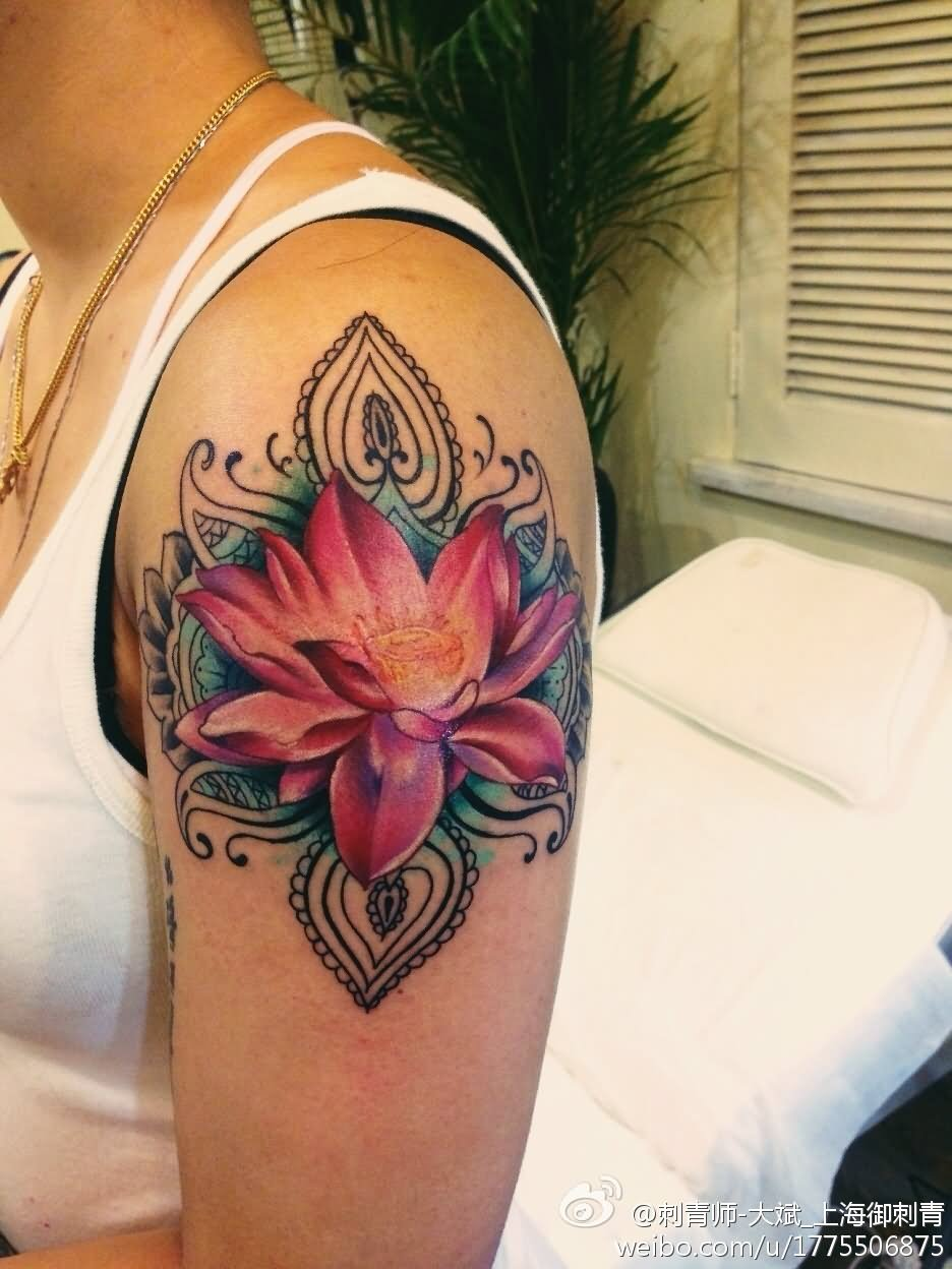 Awesome Lotus Pink Flower Tattoo