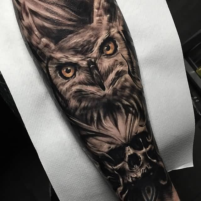 Awesome Owl Skull Tattoo