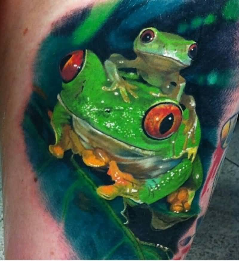 Big And Small Frog Tattoo