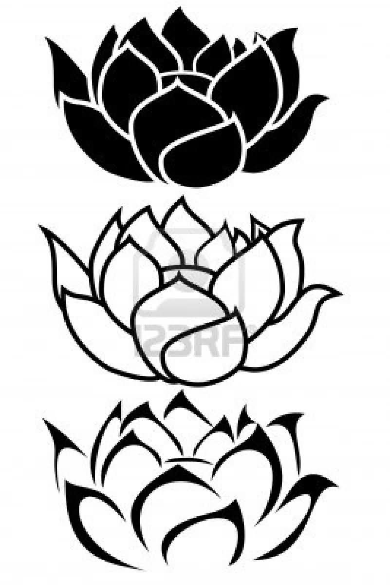 Black Three Lotus Tattoo