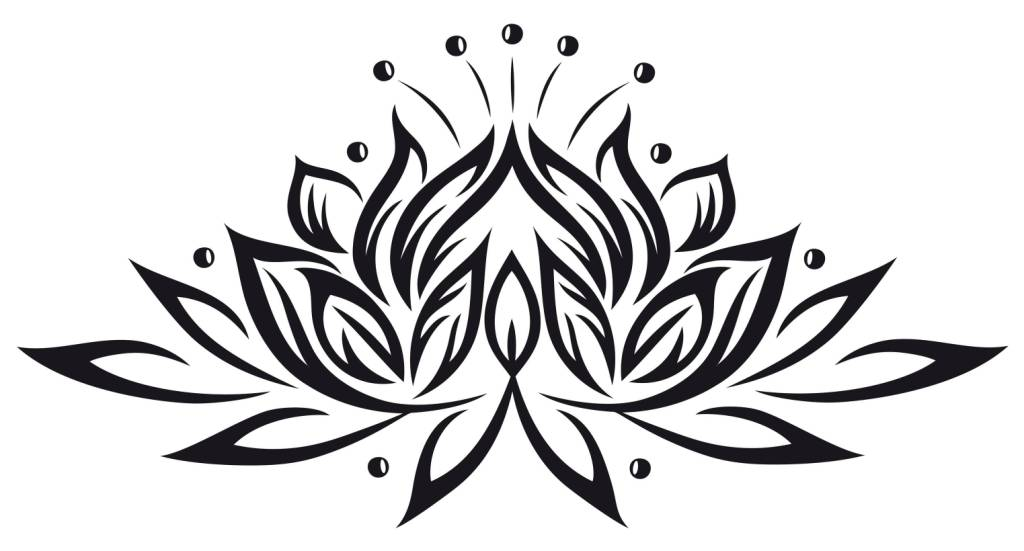Black Tribal Lotus Tattoo