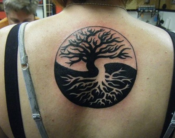 Black Yin Yang Tree Tattoo